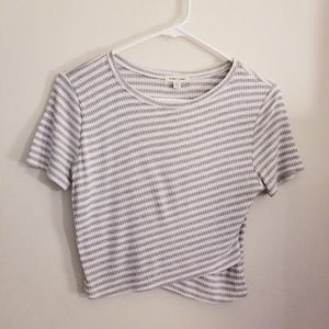 NWOT Urban Outfitters Striped Grey Cropped Top